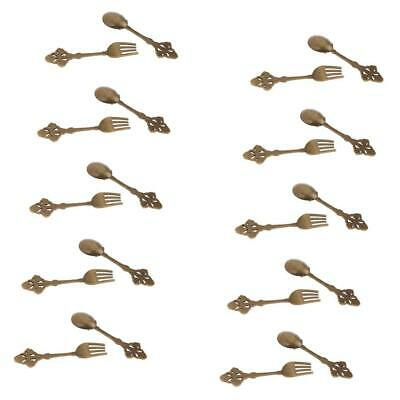 1/12 Dollhouse Miniature Tableware 10 Pairs Alloy Copper Spoon Fork Kitchen