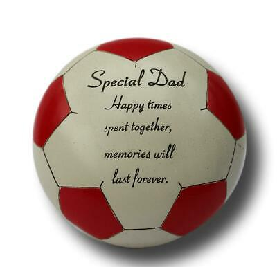Free standing Red special Dad football memorial plaque with inspirational verse