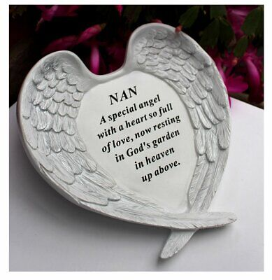 Free standing Nan memorial with inspirational verse and Angel wings