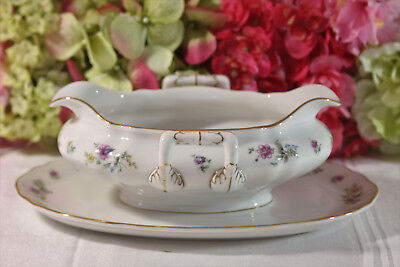 """Krautheim, """"Millefleurs"""" Sauce Boat with Gilt and Florals"""