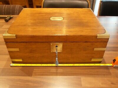 Large Brass Bound Oak Lined Collectors Box with two lift out trays , lock & key