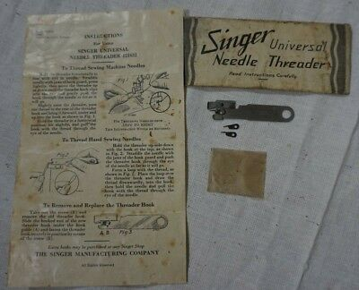 Singer Universal Needle Threader 121632 with Instructions and 2 spare hooks