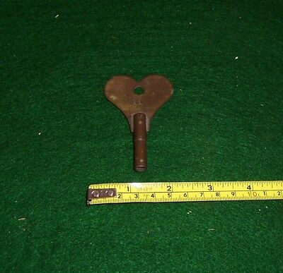 "Antique heart shape clock winding key 2.3/4"" long square hole 6mms brass key"