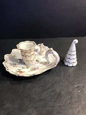 Antique Dresden Porcelain Chamberstick / Candle Holder. Hand Painted / Germany