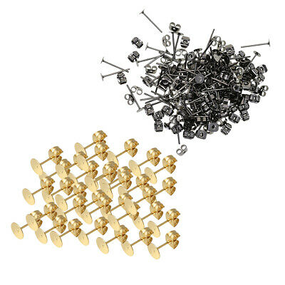 300 Pack 4mm Blank Flat Pad Base Earring Posts with Back DIY Making Findings