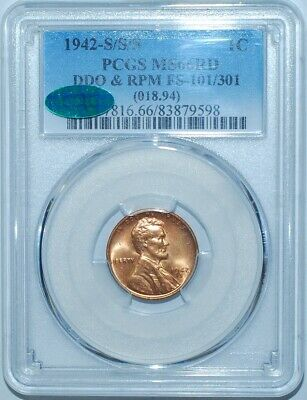 1942 S/S/S PCGS MS66RD Red FS-101/301 DDO + RPM Doubled Die Obverse Lincoln Cent
