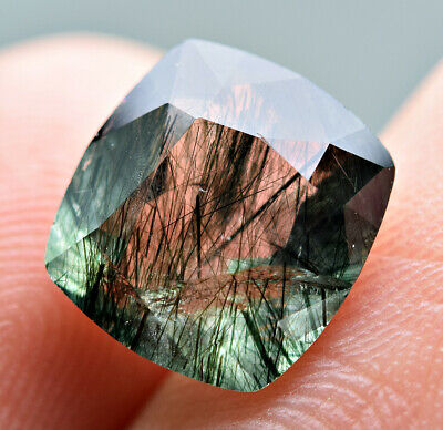 3.30 CT Unusual Green Apatite WT Unknown Green & Black Needles Cut Gemstone@PAK