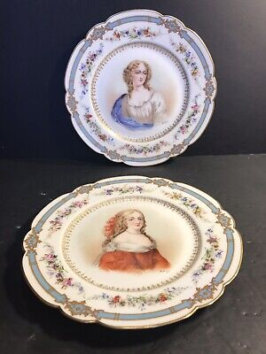 Pair Of Antique Sevres Porcelain Plate/ Hand Painted. France 1900/ Signed