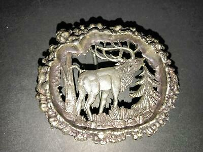 "L) 2 1/2"" Silver Tone Elk Pine Tree Belt Buckle Unbranded Wreath"