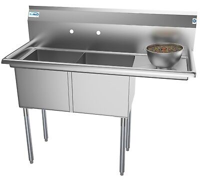 2 Basin NSF Stainless Steel Commercial Prep Sink for Restaurant - W Drainboard