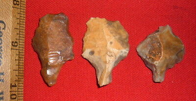 (3) Fine Aterian Early Man Points (30K to 80K BP) Prehistoric African Arrowheads