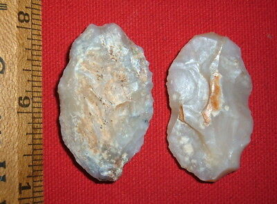 (2) Fine Aterian Early Man Tools (30K to 80K BP) Prehistoric African Arrowheads