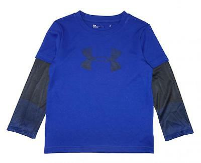 Under Armour Toddler Boys Blue & Black Dry Fit Logo Top Size 3T