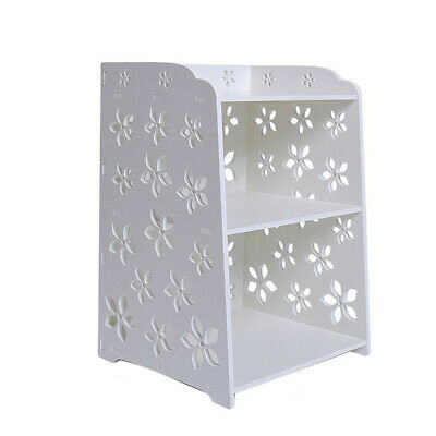 Modern White Flower Bedroom Bedside Table Rack Cabinet Organizer Night Stand Sto