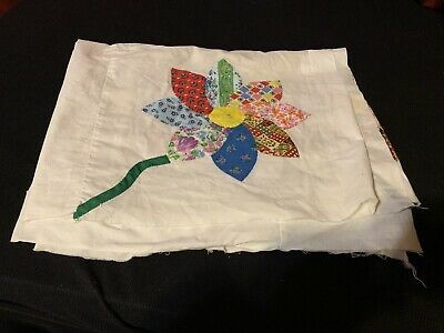 Unfinished Flower Quilt Top 10 Squares Hand Stitched Unknown age Vintage ?