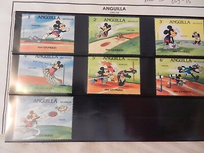 Set of 7 Disney Stamps 1984 from Anguilla Los Angeles Olympics, MNH