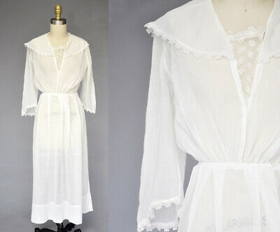 09b42939c8 Antique Edwardian White Cotton Lawn Tea Dress Lace Insert Collar Long Skirt  XXS