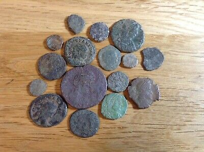 Unidentified Roman Coins lot of x15 all bronze and  1/2 silver coin