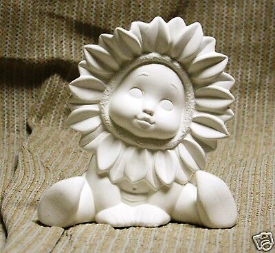 Ceramic Bisque Sunflower Baby Hands Down Donas Mold 1427 U-Paint Ready To Paint