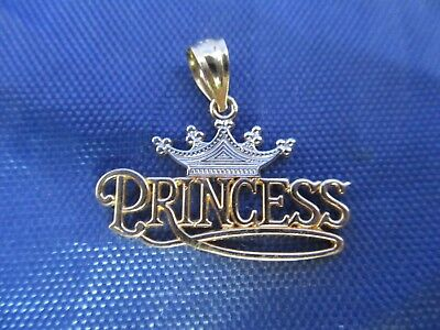 Vintage 14K White and Yellow Gold Princess Pendent.      (MARKED 14K)