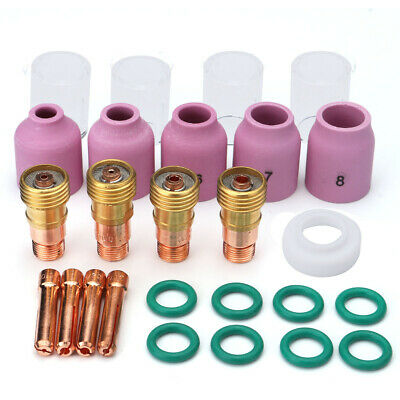 26Pcs TIG Welding Torch Stubby Gas Lens #10 Pyrex Cup Kit for Tig WP-17/18/26 To