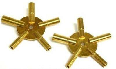 2 x Clock Winding Keys Brass spider odd/even all sizes key wind old clocks