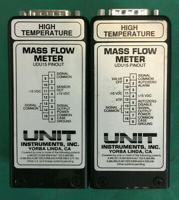 Lot of 2 Unit Instruments UFM-9150 He Mass Flow Meter, 3 SPLM & 3 SLM, Used