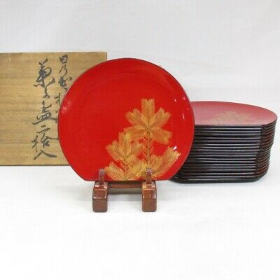 D603: Japanese lacquer ware 20 plates MEIMEI-ZARA with very good MAKIE of pine