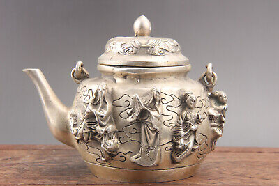 Decorated hand carving  cupronickel teapot XUANDE mark  as559