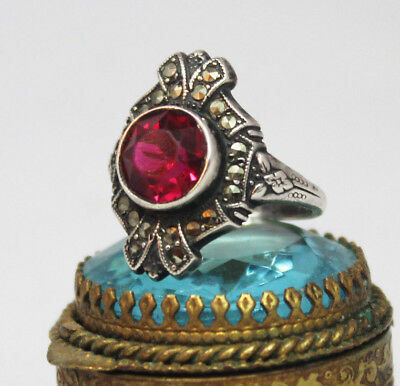 Art Deco Sterling Silver Marcasite and Glass Ring