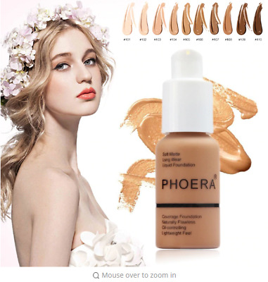 [ PHOERA ] Foundation Makeup Full Coverage Fast Base Brighten long-lasting Shade