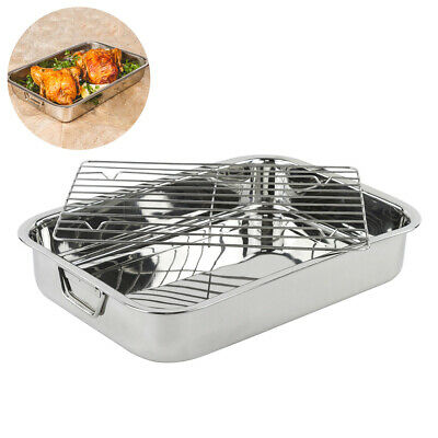 42*32*7cm Stainless Steel BBQ Grill Pan Chicken Roaster Cooking Tray Pan with Ra