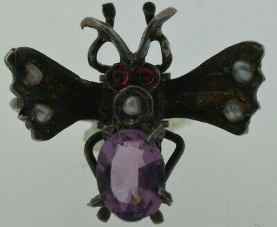 Vintage Antique Bug Sterling Hair Clip With Stones~Rare~1.63 Grams~No Reserve!!