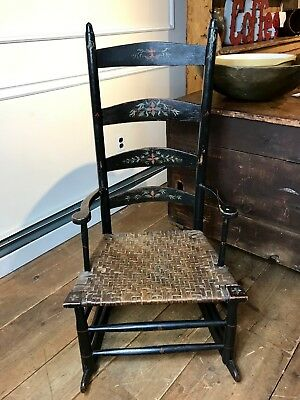 Vintage Painted Arm Ladder Back Rocker with Splint Seat