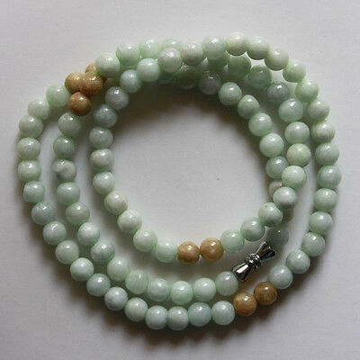 """100% Natural Untreated """"A"""" Beautiful Chinese Jadeite Jade Beads Necklace 6mm 21"""""""