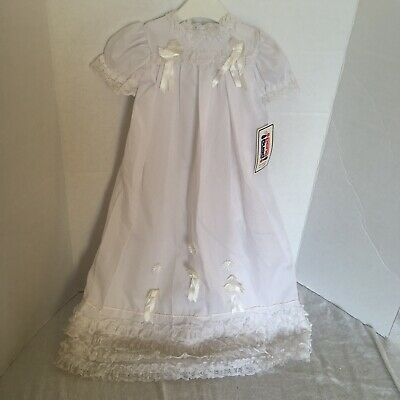 Vintage baby christening gown newborn New With Tags Old Stock 1970s lace white