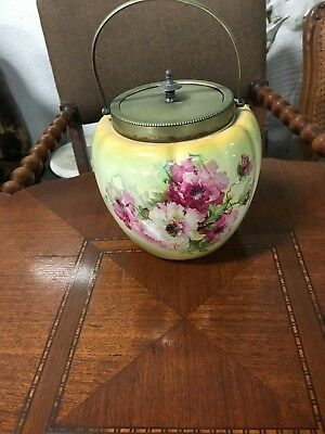 Antique Biscuit Jar Beautifully Hand Painted Porcelan