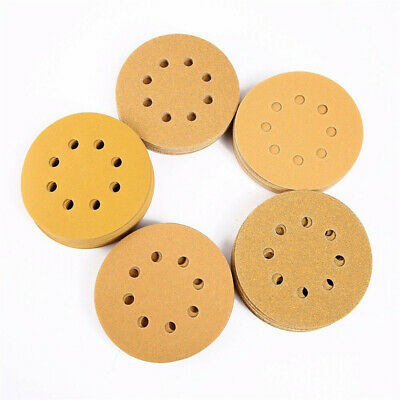 100pcs 5 Inch 8 Holes Hook Loop Sanding Discs Orbit Sandpaper Mat 60/80/120/150/