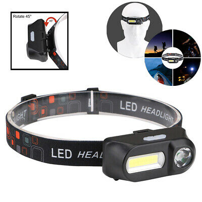Super Bright Waterproof Head Torch/Headlight LED USB Rechargeable Lamps +Battery