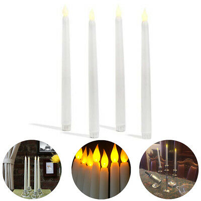 4X Battery Operated Flameless Led Taper Candle Lamp Candlestick Remote Control