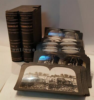 antique STEREOGRAPHIC LIBRARY TELEBINOCULAR STEREOVIEW 60 PHOTO child dog japan