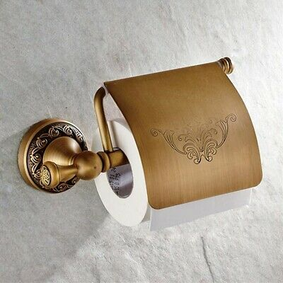 Retro Wall Mounted Antique Brass Toilet Paper Container Tissue Roll Bar Shelf Ho
