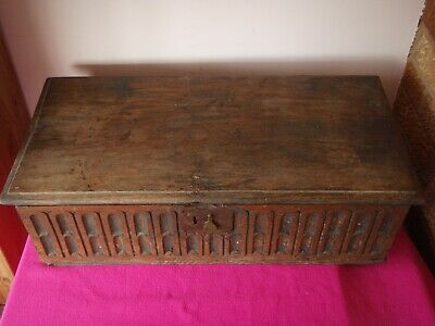 17th / 18th Century Carved Solid Oak Chest / Bible Box ? - A/F for Restoration