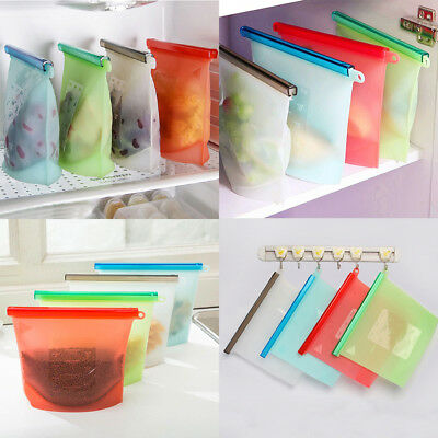Reusable Fresh Versatile Kitchen Food Silicone Storage Cooking 4PCS Freezer Bag