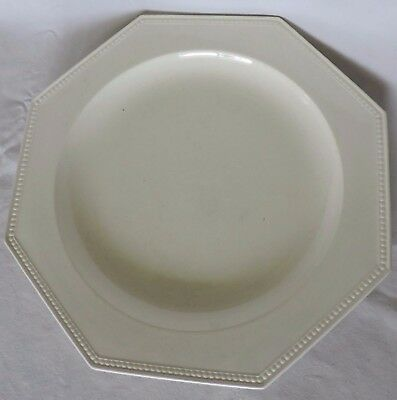 Grand Plat  Octogonal En Faience De Montereau Bords Perles 29.5 Cm