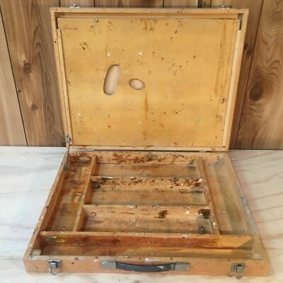 Well Used Vintage Wooden Artists Case - Painters Palette and Box
