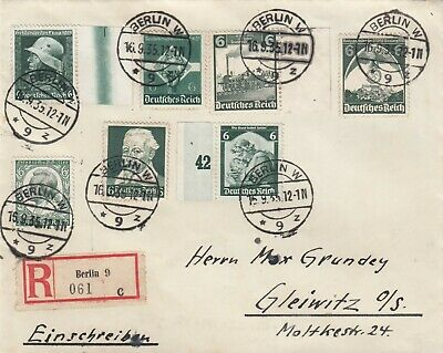 16.09.1935 - MiF 566/569/571/573/580... - R-Brief - BERLIN - GLEIWITZ - (O54)