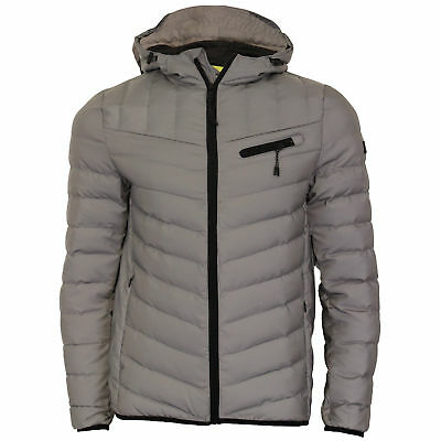 ad87d5eb85c Mens Bubble Jacket Dissident Coat Hoodie Reflective Quilted Padded PINNACLE  Warm