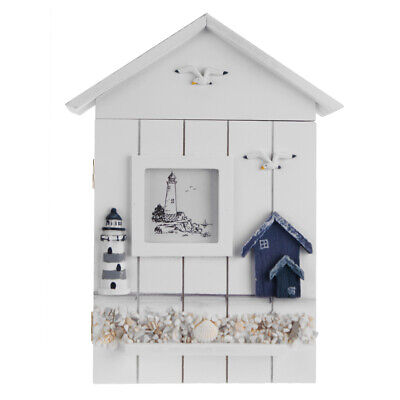 Wooden Storage Box Rack Cabinet Keys Security Case Shabby Chic Lighthouse Wall M