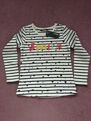 Girls long sleeve white with blue stripe jumper top from George - age 6-7 BNWT